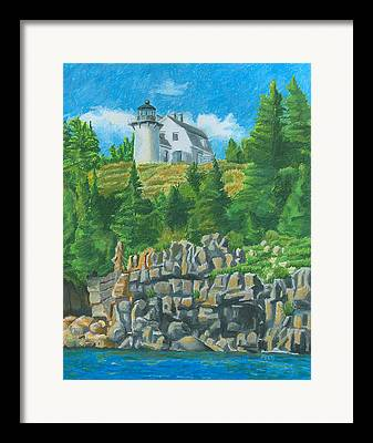 Maine Lighthouses Drawings Framed Prints