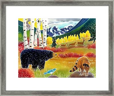 Bear Meets Raccoon Framed Print by Harriet Peck Taylor