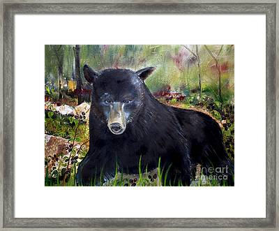 Framed Print featuring the painting Bear Painting - Blackberry Patch - Wildlife by Jan Dappen