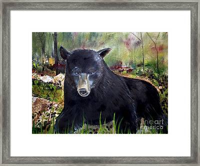 Bear Painting - Blackberry Patch - Wildlife Framed Print
