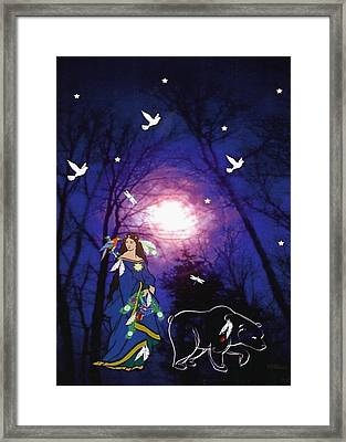 Framed Print featuring the digital art Bear Spirit by Mary Anne Ritchie