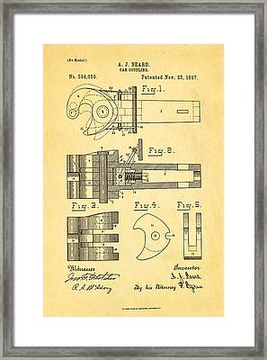 Beard Railroad Coupler Patent Art 1897 Framed Print by Ian Monk
