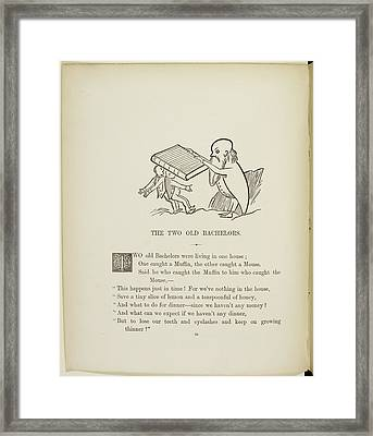 Bearded Man Knocking Two Men Down Framed Print by British Library