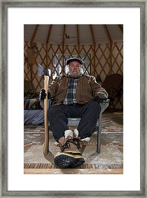 Bearded Man With Ax In Sparse Yurt Framed Print