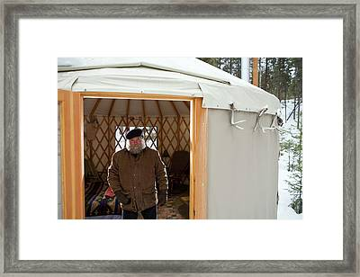 Bearded Man With Hat In Sparse Yurt Framed Print