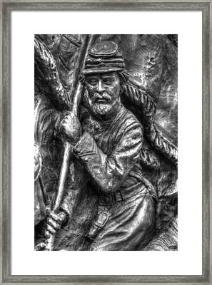 Bearing The State Colors.  State Of Delaware Monument Detail-f Gettysburg Autumn Mid-day. Framed Print