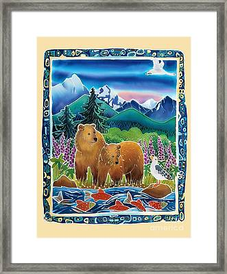 Bears And Salmon Framed Print by Harriet Peck Taylor