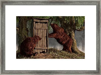 Bears Around The Outhouse Framed Print by Daniel Eskridge