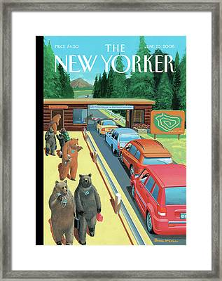 Bears Leaving Work At A National Park Framed Print by Bruce McCall