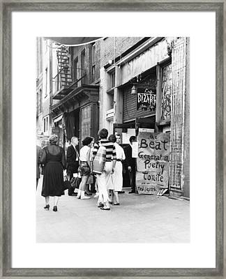 Beat Generation At West Village Coffee Framed Print