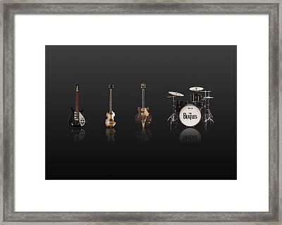 Beat Of Beatles Black Framed Print by Six Artist