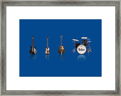 Beat Of Beatles Blue Framed Print by Six Artist