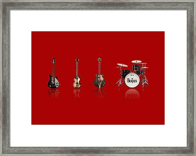 Beat Of Beatles Red Framed Print by Six Artist