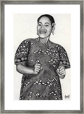 Framed Print featuring the drawing Beat Woman by Lew Davis