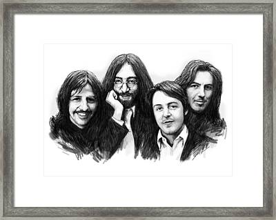 Beatles Blackwhite Drawing Sketch Poster Framed Print by Kim Wang
