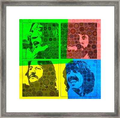 Beatles Pop Art Collage Framed Print by Dan Sproul