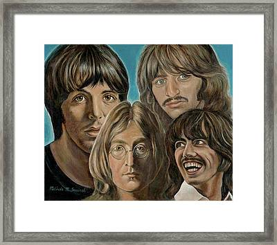 Framed Print featuring the painting Beatles The Fab Four by Melinda Saminski