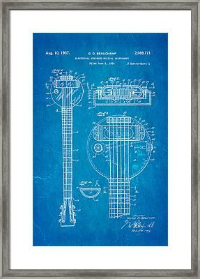 Beauchamp First Electric Guitar Patent Art 1937 Blueprint Framed Print