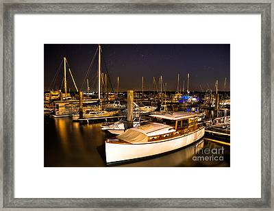 Beaufort Sc Night Harbor Framed Print by Reid Callaway
