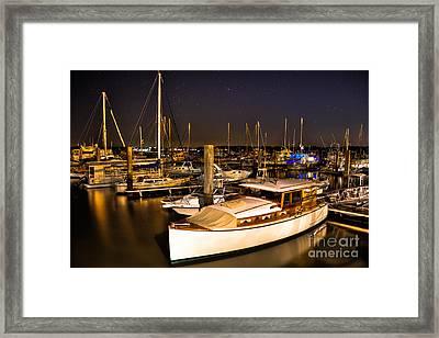 Beaufort Sc Night Harbor Framed Print