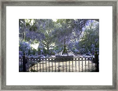Beaufort South Carolina Dreamy Purple Lilac Garden Gates  Framed Print by Kathy Fornal