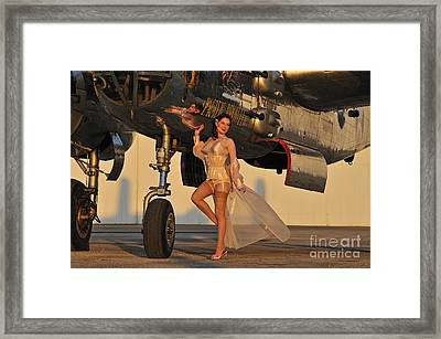 Beautiful 1940s Pin-up Girl Standing Framed Print