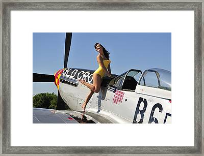 Beautiful 1940s Style Pin-up Girl Framed Print by Christian Kieffer