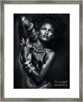 Beautiful African American Woman Wearing Jewelry Framed Print by Oleksiy Maksymenko