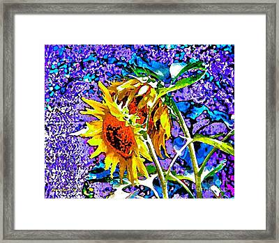 Framed Print featuring the painting Beautiful And Bright Sunflowers by Annie Zeno
