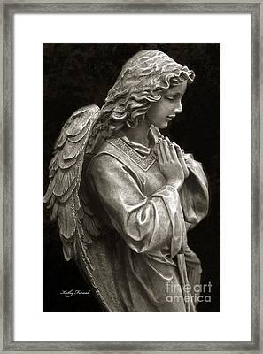 Beautiful Angel Praying Hands Christian Art Print Framed Print by Kathy Fornal
