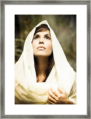 Beautiful Angelic Woman Looking To The Heavens Framed Print