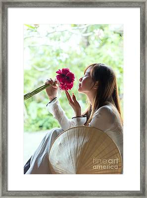 Beautiful Asian Woman With Flowers - Vietnam Framed Print