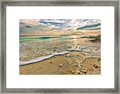 Beautiful Beach Blue Sea Sunset Framed Print