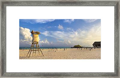 Beautiful Beach Panorama At Playa Del Carmen Framed Print by Mark E Tisdale