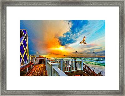 Beautiful Beach Seaside Florida Beach Staircase Framed Print