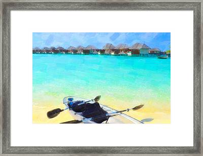 Beautiful Beach With Water Bungalows At Maldives Framed Print