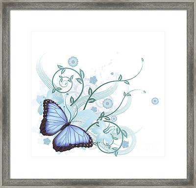 Beautiful Blue Butterfly Background Framed Print by Christos Georghiou