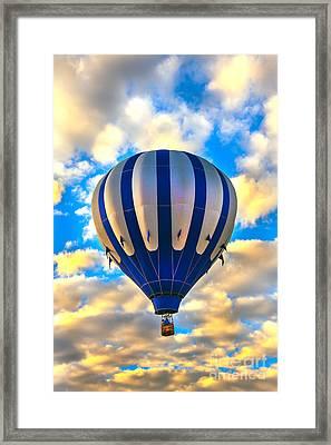 Beautiful Blue Hot Air Balloon Framed Print by Robert Bales