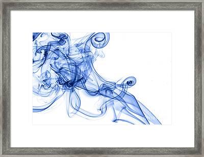 Beautiful Blue Smoke Abstract Framed Print