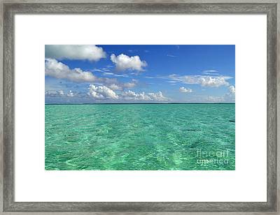 Beautiful Bora Bora Green Water And Blue Sky Framed Print