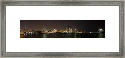 Beautiful Chicago Skyline With Fireworks Framed Print