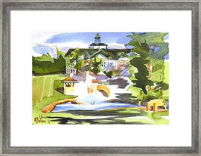 Beautiful Day At The Baptist Home Of The Ozarks In Watercolor Framed Print