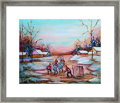 Beautiful Day For Pond Hockey Winter Landscape Painting  Framed Print by Carole Spandau