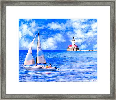 Beautiful Day For Sailing - Chicago Harbor Light Framed Print by Mark E Tisdale