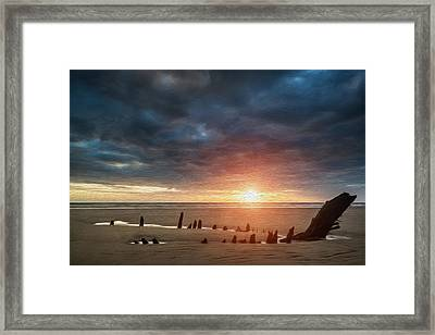 Beautiful Dramatic Sunset Landscape Over Shipwreck On Rhosilli Bay Beach Digital Painting Framed Print by Matthew Gibson