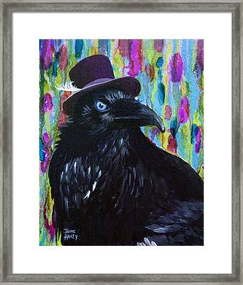 Beautiful Dreamer Black Raven Crow 8x10 Mixed Media By Jaime Haney Framed Print