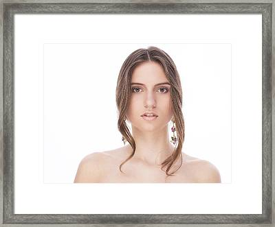 Beautiful Female With Earrings Framed Print by Anastasia Yadovina