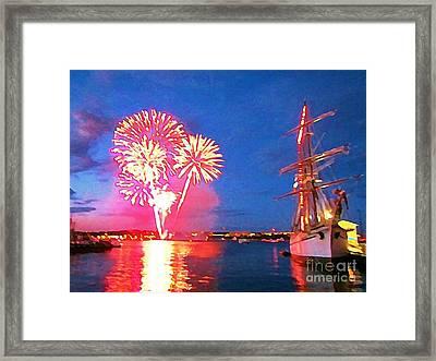 Beautiful Fireworks In Halifax Harbor Framed Print