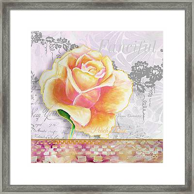 Beautiful Floral Peach Rose Original Flower Painting By Megan Duncanson Framed Print by Megan Duncanson