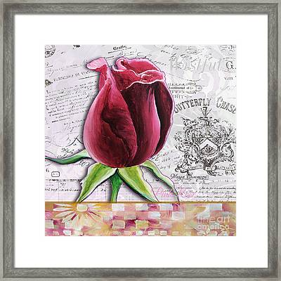 Beautiful Floral Pink Rose Original Flower Painting By Megan Duncanson Framed Print by Megan Duncanson